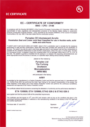 CE Intumescent Acrylic Certificate of Conformity